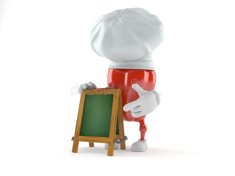 Czerwonego pieprzu charakter z kredowym signboard ilustracji