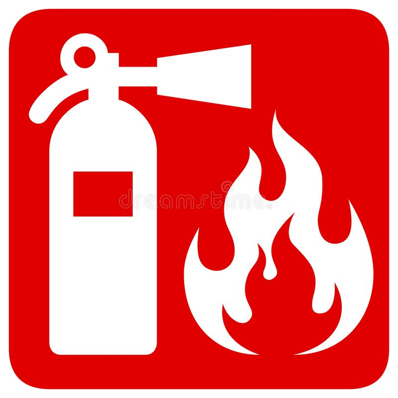 Czerwonego prostokąta znaka pożarniczy bezpieczeństwo ilustracji