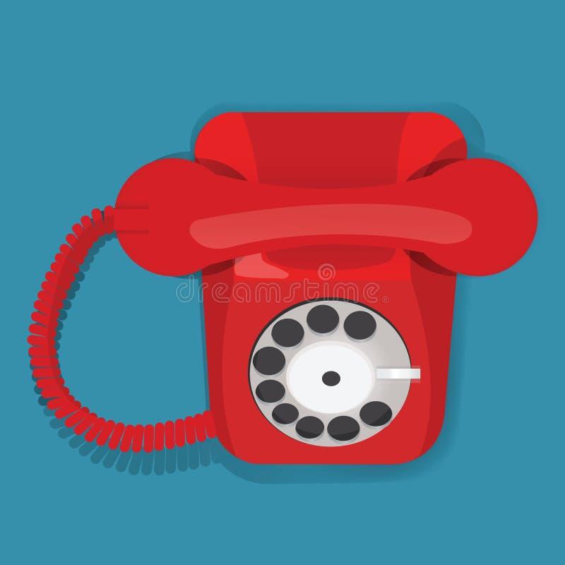 Czerwonego Retro rocznika telefonu ikony Komunikacyjny wektor Illustrati royalty ilustracja