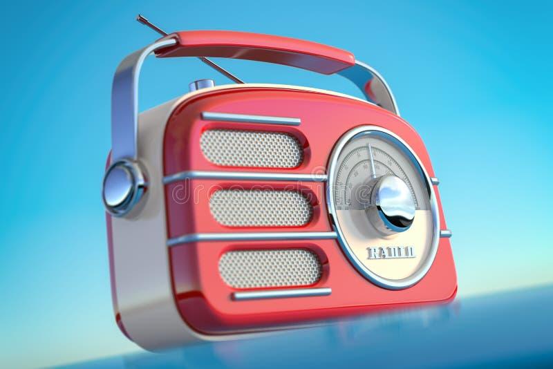 Czerwonego rocznika retro stylowy radiowy odbiorca na nieba tle ilustracji