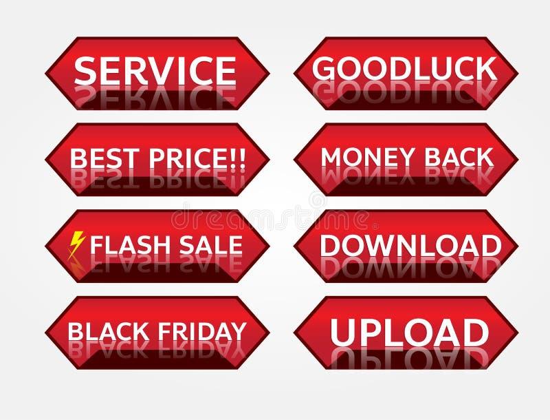 Czerwonego sztandaru etykietki promocyjny projekt dla marketingu zdjęcia stock