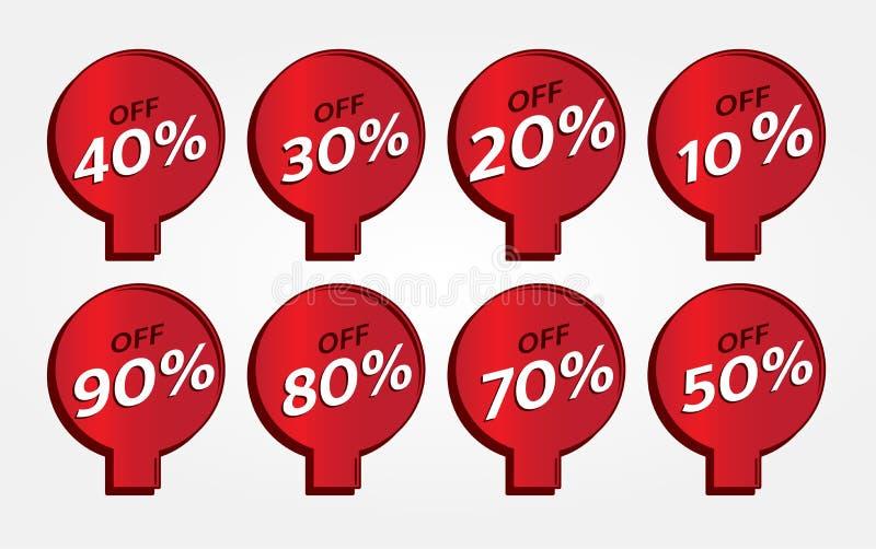 Czerwonego sztandaru etykietki promocyjny projekt dla marketingu obraz royalty free
