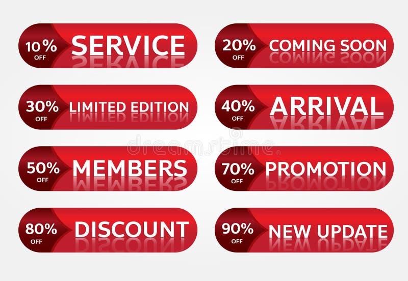 Czerwonego sztandaru etykietki promocyjny projekt dla marketingu fotografia royalty free