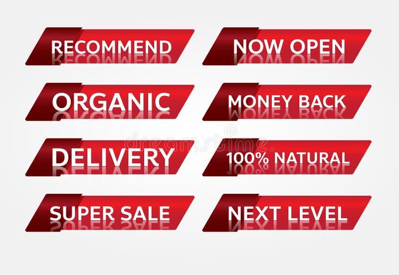 Czerwonego sztandaru etykietki promocyjny projekt dla marketingu obrazy royalty free