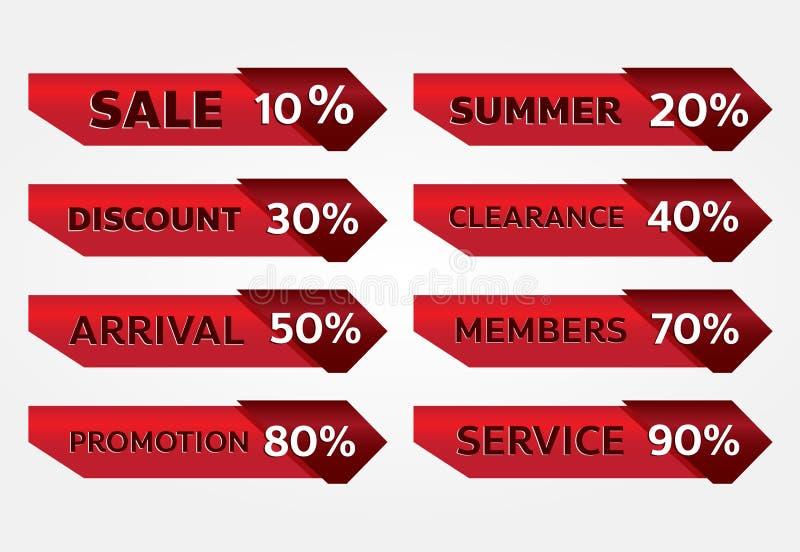 Czerwonego sztandaru etykietki promocyjny projekt dla marketingu zdjęcie stock