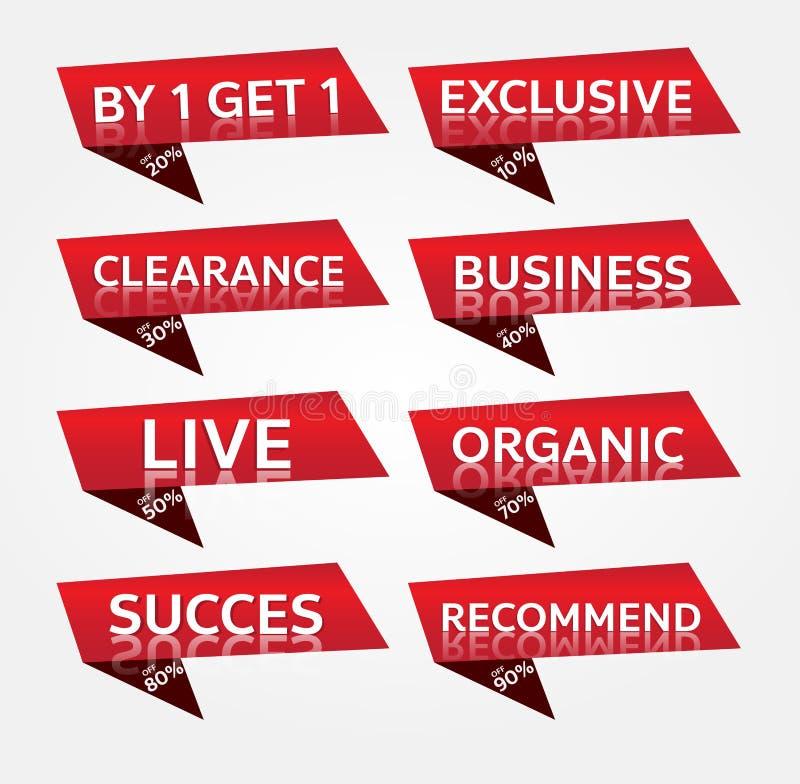 Czerwonego sztandaru etykietki promocyjny projekt dla marketingu obraz stock