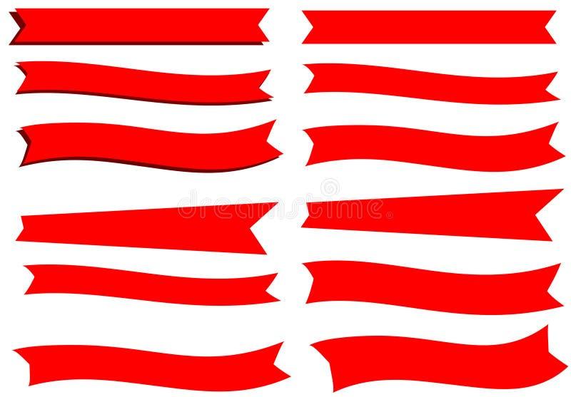 12 czerwonego sztandaru faborku ilustracja wektor