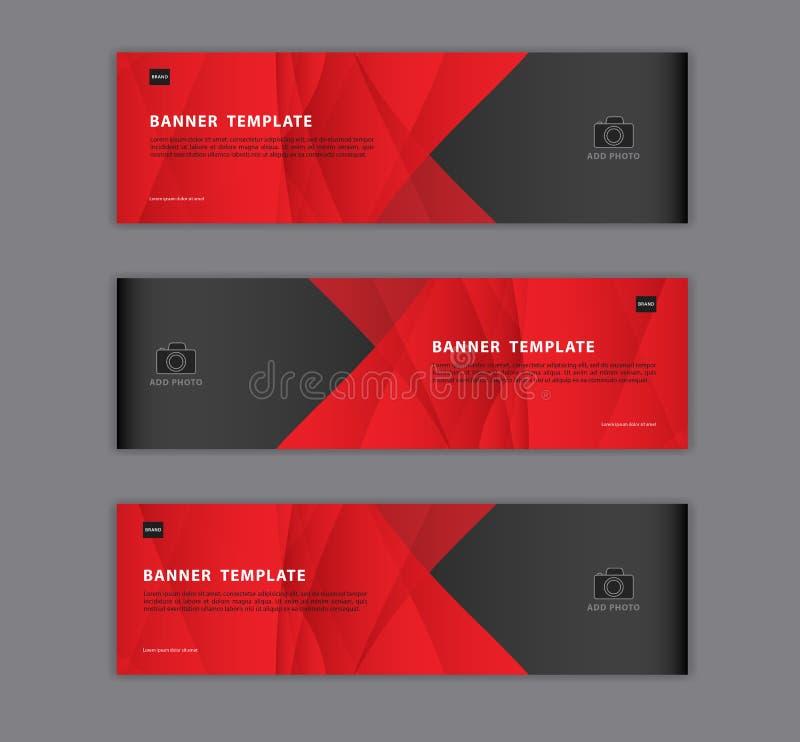 Czerwonego sztandaru projekta szablonu wektorowa ilustracja, Geometryczny, poligonalny Abstrakcjonistyczny tło, tekstura, reklama ilustracji