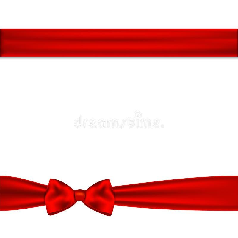 Czerwonego tasiemkowego łęku horyzontalna granica royalty ilustracja