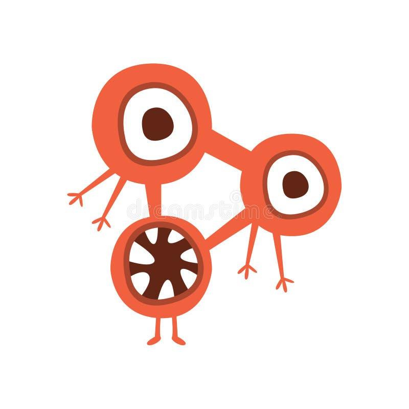 Czerwonego trójboka kształta bakterii Agresywny Zły potwór Z Ostrych zębów kreskówki wektoru ilustracją ilustracji