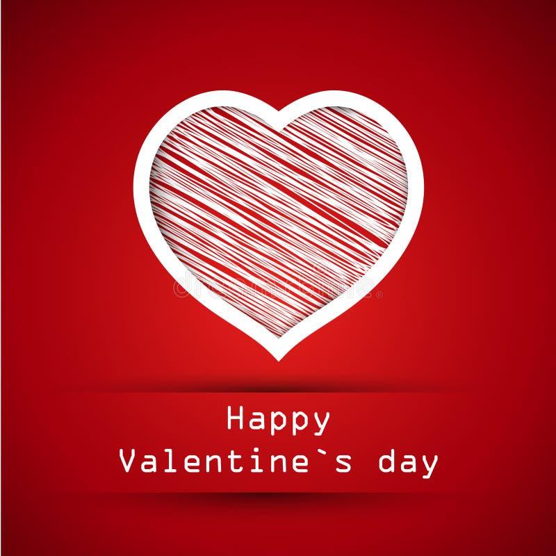 Czerwonego valentine nabazgrany serce royalty ilustracja