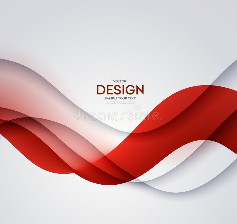Czerwonego wektorowego szablonu Abstrakcjonistyczny tło z krzywa cieniem i liniami Dla ulotki, broszurka, broszura projekt royalty ilustracja