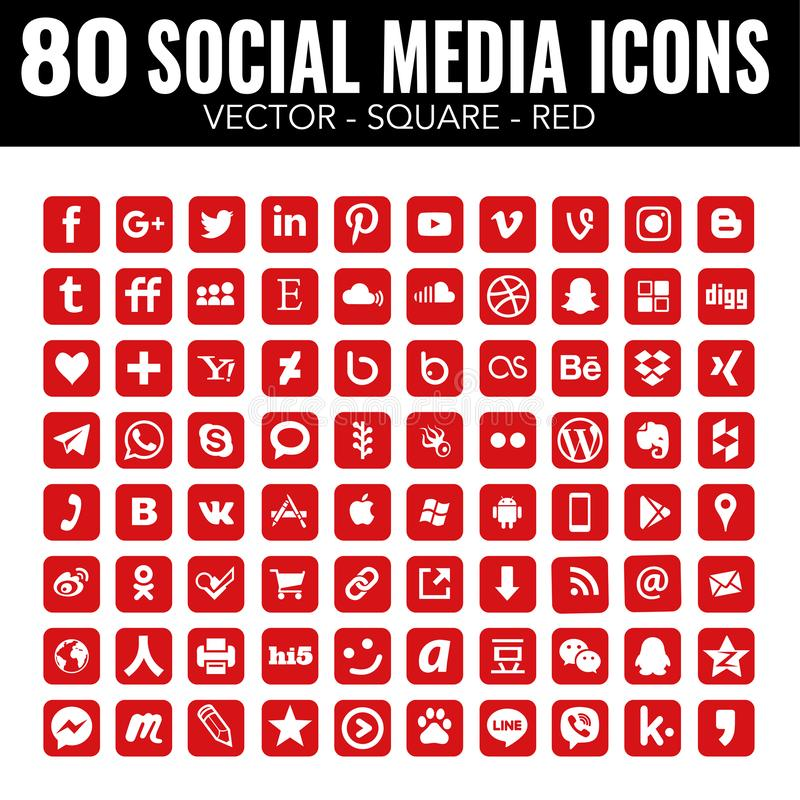 Czerwonego wektoru kwadrata ogólnospołeczne medialne ikony dla sieć projekta i graficznego projekta - ilustracji