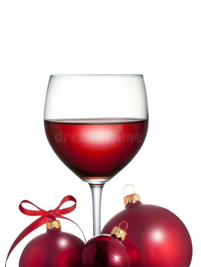 Czerwonego wina bożenarodzeniowy Szkło zdjęcia stock