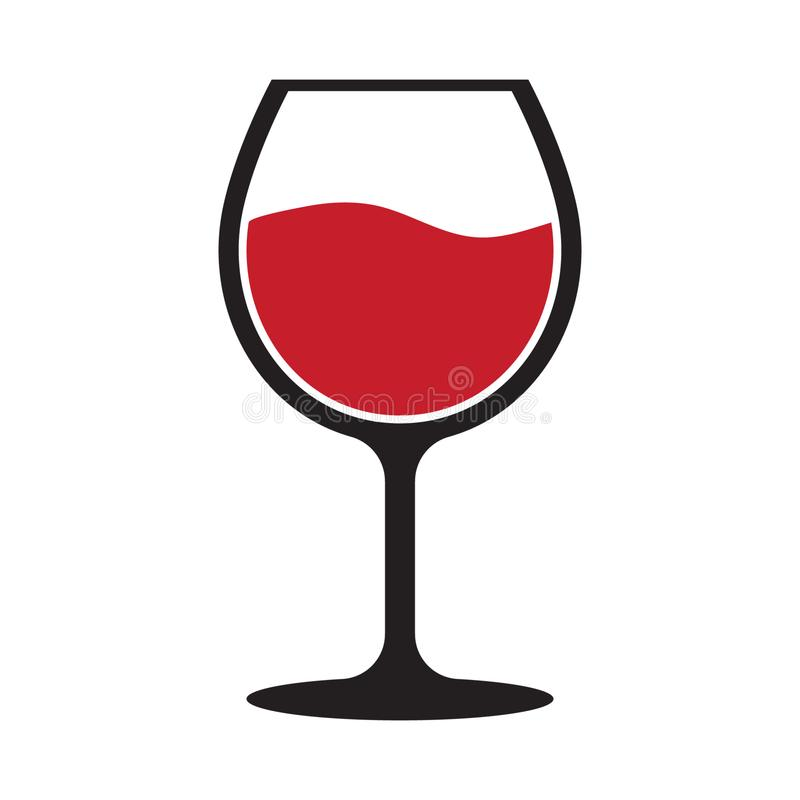 Czerwonego wina szk?a ikona ilustracja wektor