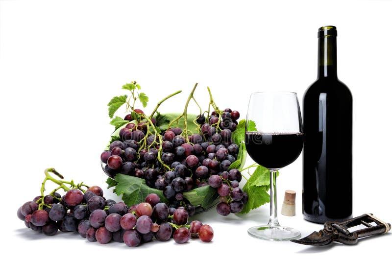 Czerwonego winogrona wiązki i wina szkło na białym tle zdjęcie stock