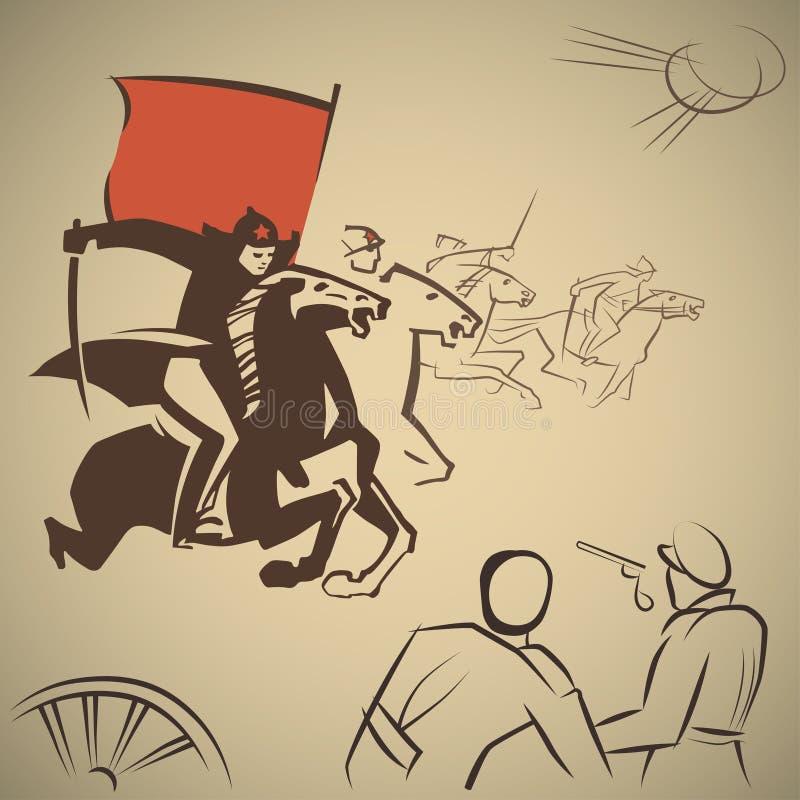 Czerwonego wojska bitwa ilustracja wektor
