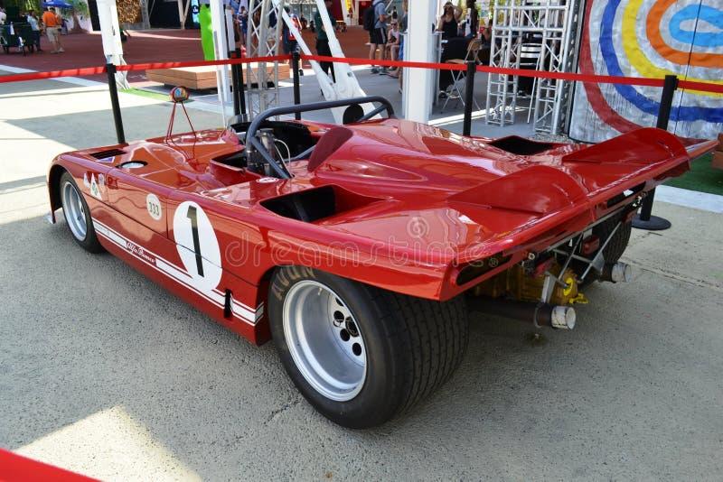 Czerwonej Alfa Romeo klasycznej formu?y stary bie?ny samoch?d eksponuj?cy przy expo Milano 2015 fotografia stock