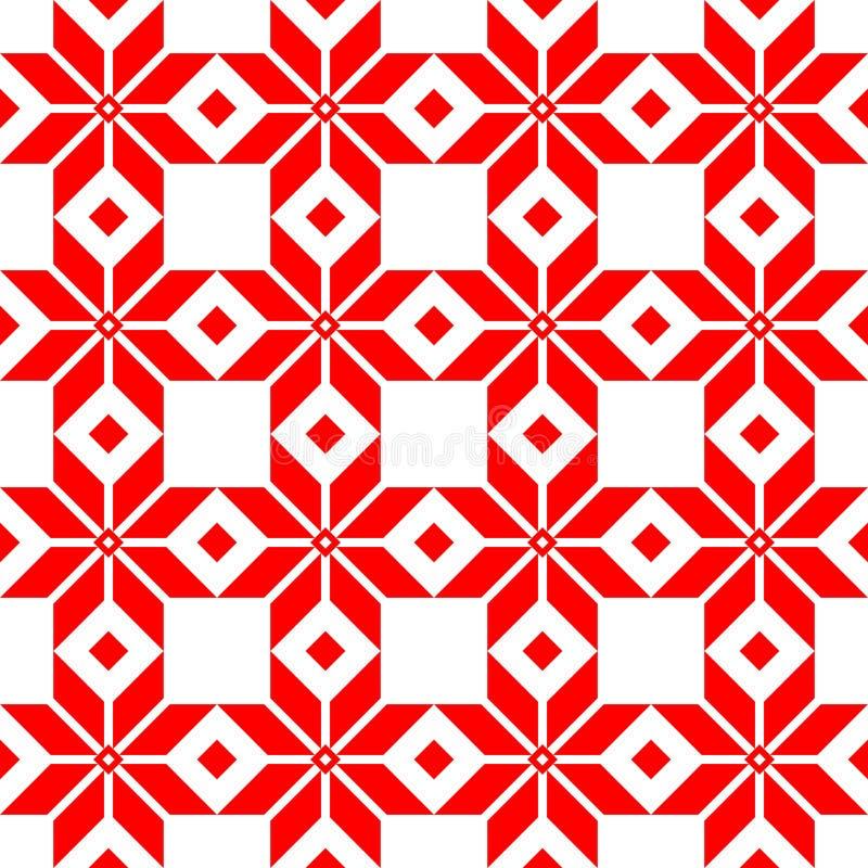 Czerwonej białoruszczyzny święty etniczny ornament, bezszwowy wzór również zwrócić corel ilustracji wektora Słoweński Tradycyjny  zdjęcie royalty free