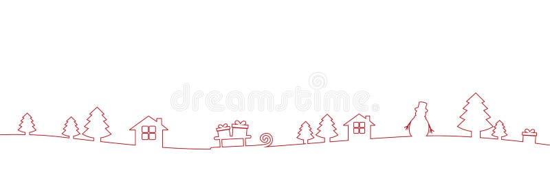 Czerwonej boże narodzenie rabatowej dekoracji kreskowy rysunek ilustracji