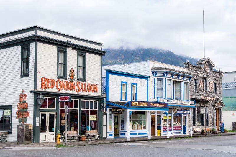 Czerwonej cebuli bar, Obozowy Skagway Żadny 1 i jewellery sklepy w Skagway Alaska zdjęcie stock