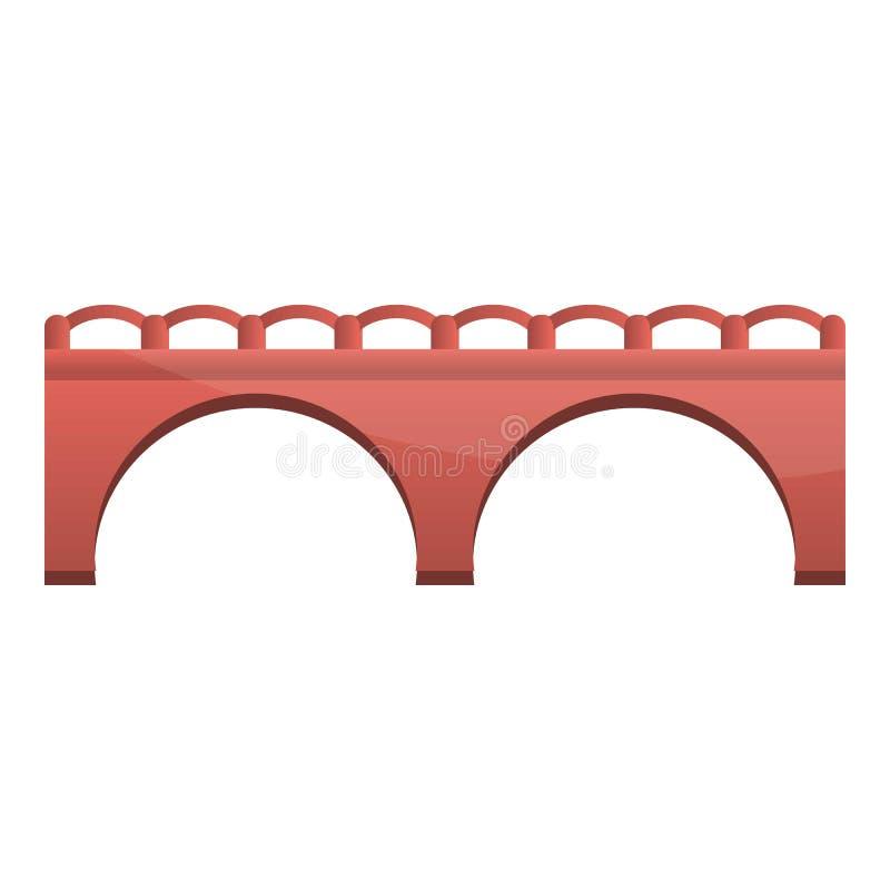 Czerwonej cegły mostu ikona, kreskówka styl ilustracja wektor