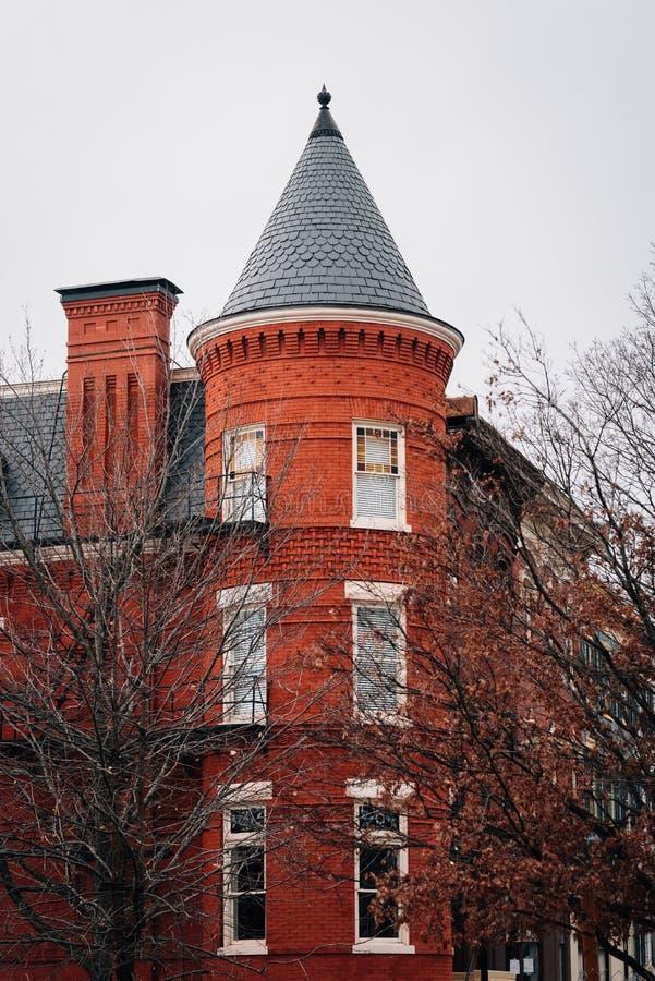 Czerwonej cegły dom w Wzgórze Kapitolu, Waszyngton, DC fotografia royalty free