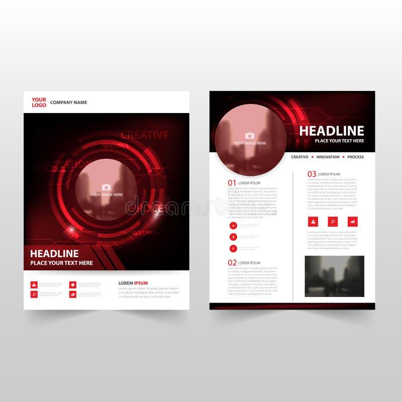 Czerwonej czarnej technologii sprawozdania rocznego ulotki broszurki ulotki szablonu Wektorowy projekt, książkowej pokrywy układu ilustracji