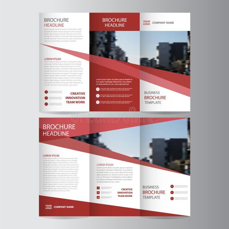 Czerwonej eleganci ulotki broszurki ulotki szablonu biznesowy trifold biznesowy wektor minimalny ilustracja wektor