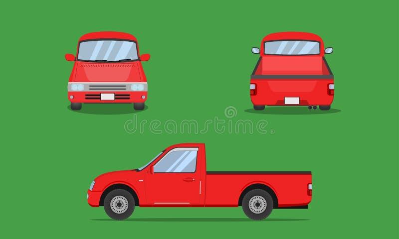 Czerwonej furgonetki samochodowa frontowa strona z powrotem przegląda przewiezioną wektorową ilustrację eps10 ilustracji