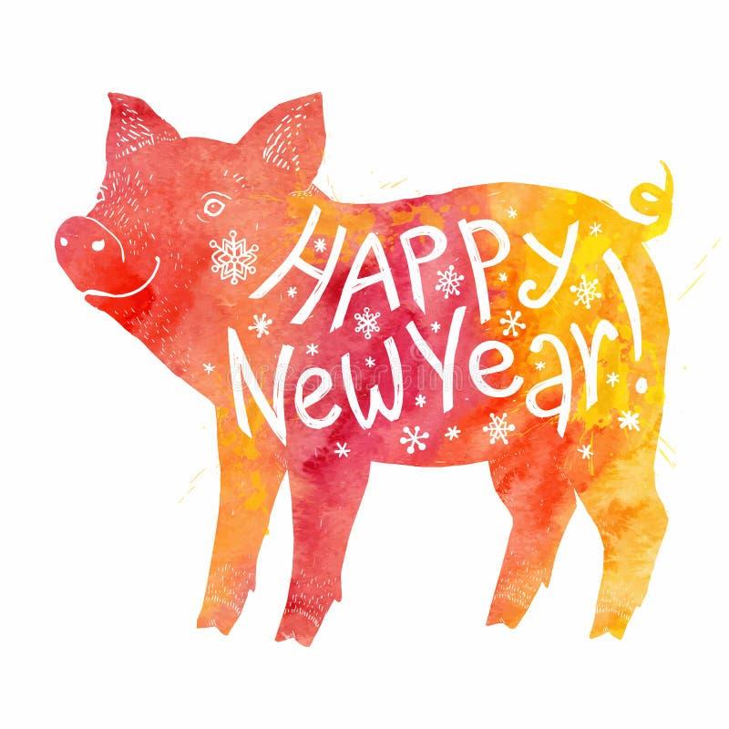 Czerwonej i żółtej akwareli świniowata sylwetka z białym akwareli literowaniem inside Szczęśliwa ręka rysujący nowego roku znak d ilustracja wektor