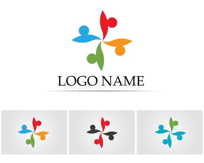 Czerwonej i błękitnej gwiazdy społeczności loga szablonu wektoru ikony ludzie ilustracji