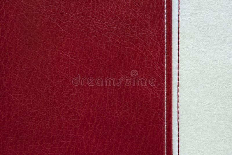 Czerwonej i białej skóry tekstury tło obraz royalty free