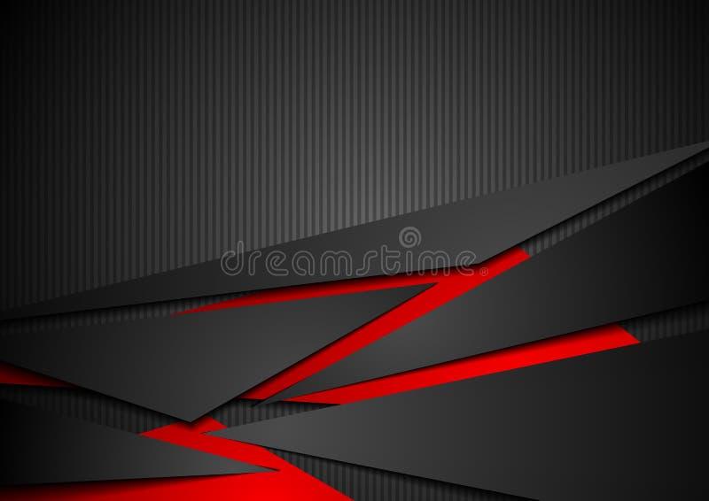 Czerwonej i czarnej techniki korporacyjny abstrakcjonistyczny tło ilustracji