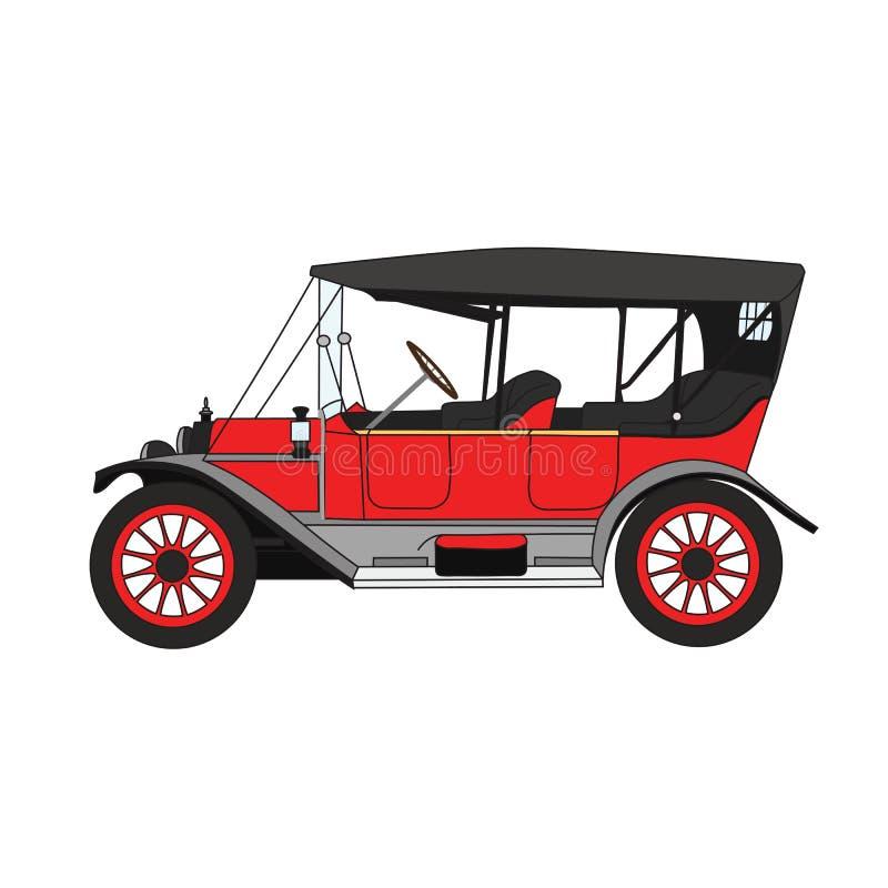 Czerwonej kreskówki retro samochód ilustracji