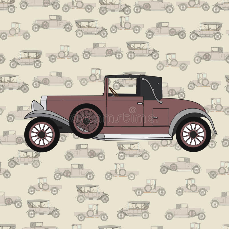 Czerwonej kreskówki retro samochód royalty ilustracja
