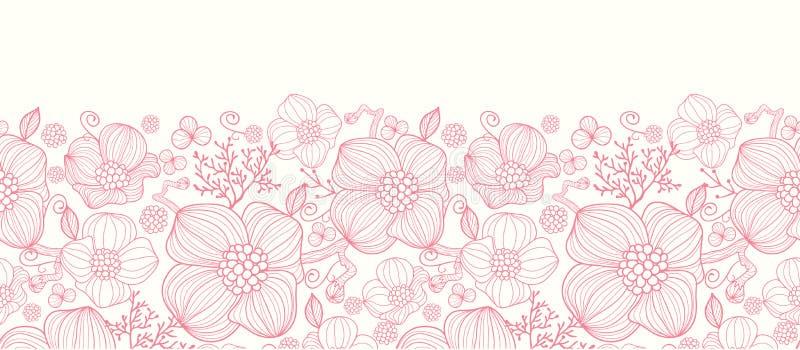 Czerwonej linii sztuka kwitnie horyzontalnego bezszwowego wzór ilustracji