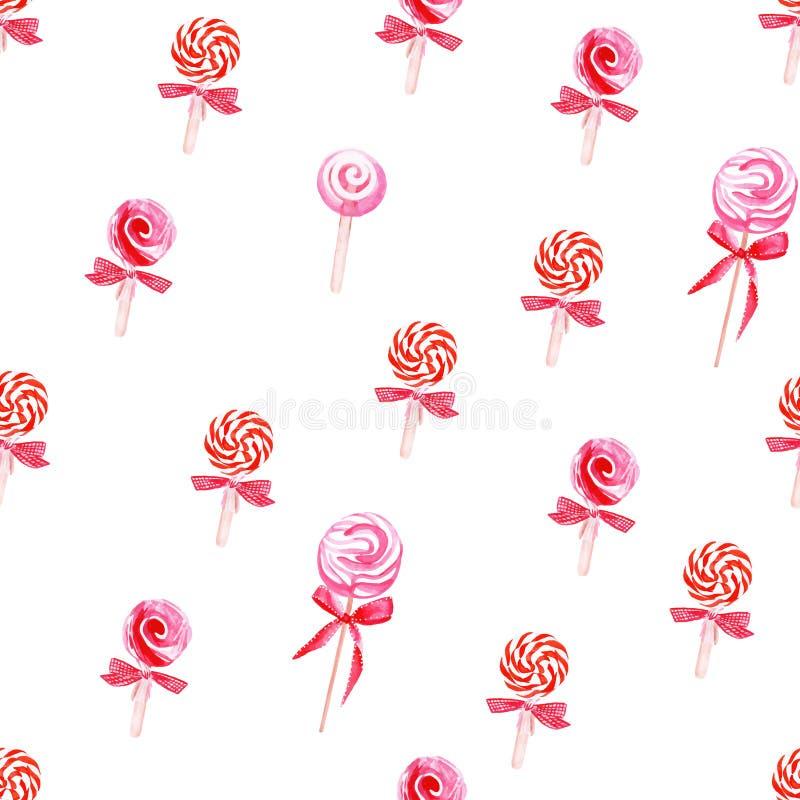 Czerwonej lollypops akwareli wektoru bezszwowy wzór ilustracji