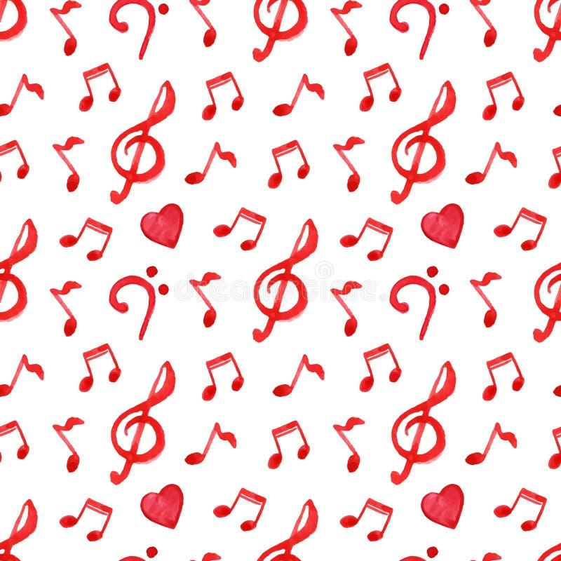 Czerwonej notatki treble basowego clef miłości muzyczny bezszwowy deseniowy wektor royalty ilustracja