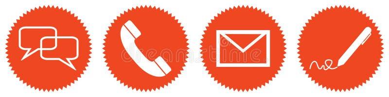 4 czerwonej round Contakt ikony Gawędzą linii specjalnej Newsltetter pocztę ilustracja wektor
