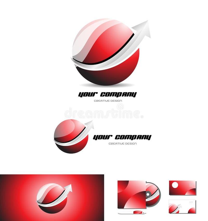 Czerwonej sfery 3d loga ikony strzałkowaty projekt ilustracja wektor