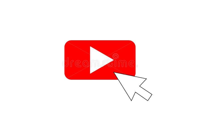 Czerwonej sztuki Wektorowy logo z kursorem, ikona guzik youtube Płascy Ogólnospołeczni środki royalty ilustracja