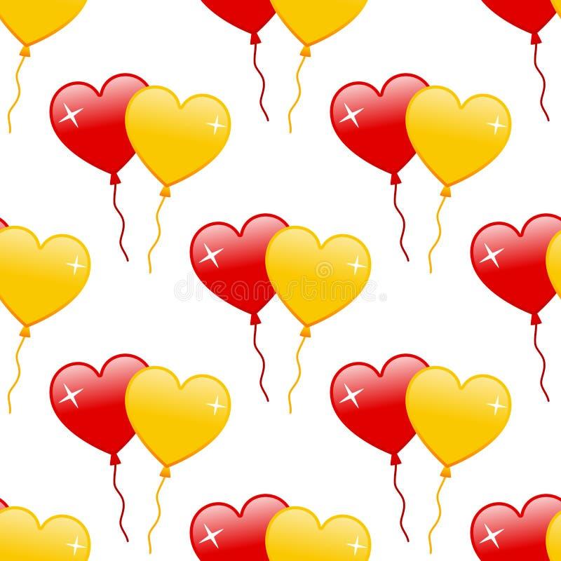 Czerwoni & Żółci Kierowi balony Bezszwowi ilustracja wektor