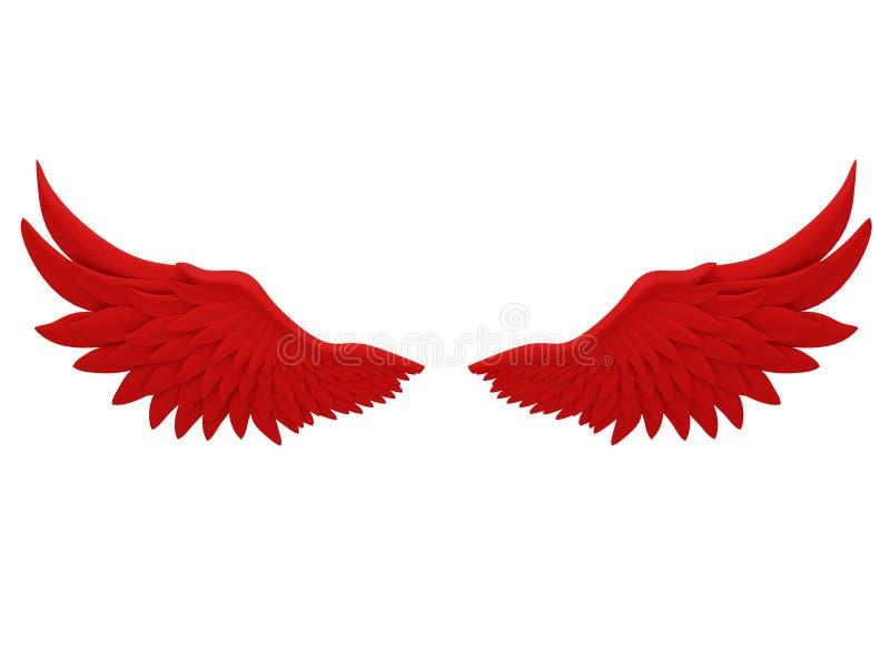 Czerwoni aniołów skrzydła odizolowywający na białym tła 3d renderingu ilustracja wektor