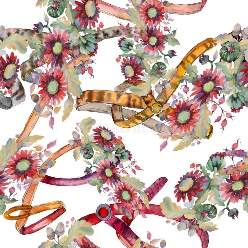 Czerwoni asteru i acorn bukieta kwieciści botaniczni kwiaty Akwareli ilustraci set Bezszwowy tło wzór ilustracja wektor