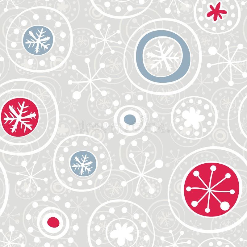 Czerwoni błękitny szarość płatek śniegu na szarość royalty ilustracja