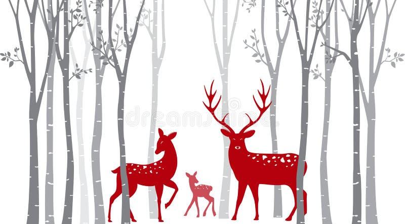 Czerwoni boże narodzenia jeleni z brzozy drzewem ilustracji