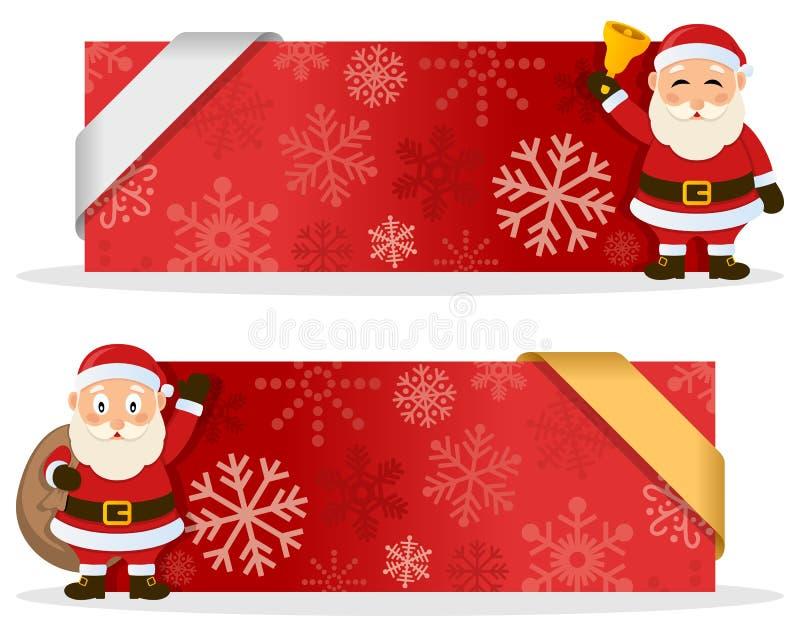 Czerwoni Bożenarodzeniowi sztandary z Święty Mikołaj ilustracji