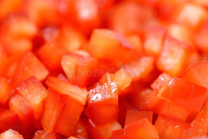 Czerwoni Capsicum kawałki fotografia royalty free