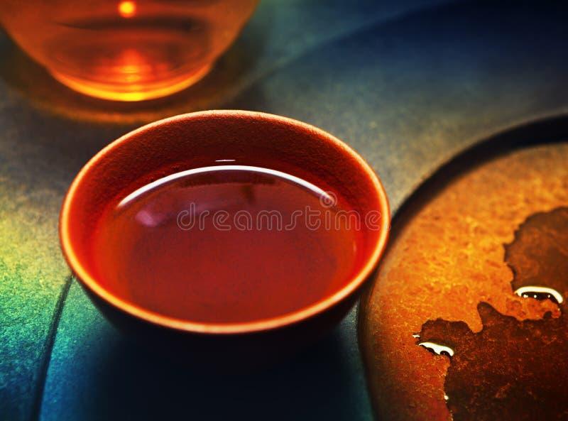 Czerwoni Chińscy Ceramiczni Herbacianej filiżanki gorący napoje fotografia stock